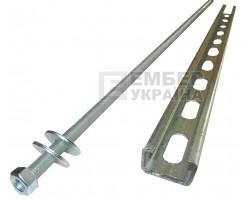Комплект крепления на опору (траверса оцинкованная 1 мм, шпилька, 2 гайки, 2 шайбы)